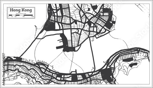Fotografie, Obraz Hong Kong China City Map in Black and White Color in Retro Style