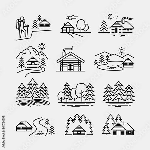 Log Cabin in Forest Vector Line Icons Fototapeta