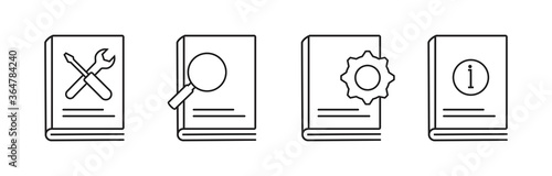 Photo User guide book icon set in line style
