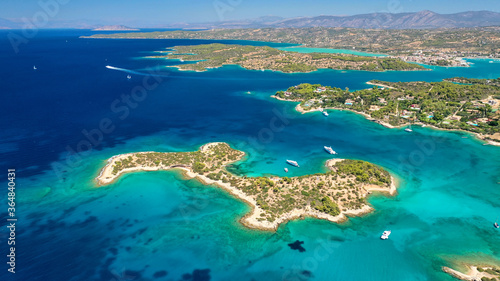 Tela Aerial drone photo of Hinitsa bay a popular anchorage crystal clear turquoise se