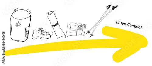 Billede på lærred Yellow arrow and pilgrim needed things