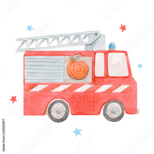 Fototapeta Beautiful image with cute watercolor toy fire engine
