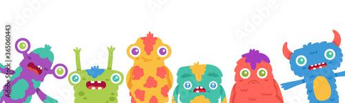 Платно Cartoon monsters background