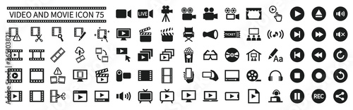 Valokuva Video and movie related icons set 75