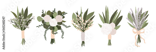 Canvas Print Set of wedding bouquets with flowers rose, lavender eucalyptus green leaves isolated on white background