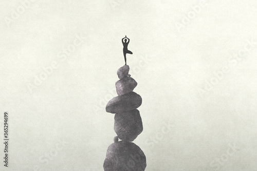 Fotografía illustration of person meditating on a unstable stone's tower, zen concept