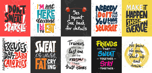 Wallpaper Mural Set of 10 motivational and inspirational lettering posters, decoration, prints, t-shirt design for sport, gym or fitness