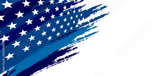 Photographie Blue abstract background with brushes flag and stars