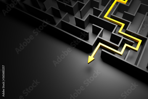 3d rendering: Concept - solving a complex problem. Black maze and floor with yellow solution path with arrow. Low key image.