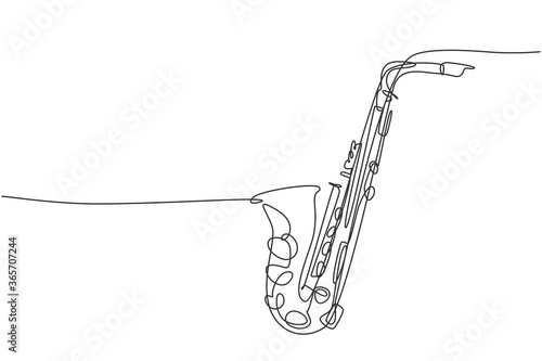 Fotografia One continuous line drawing of classical saxophone
