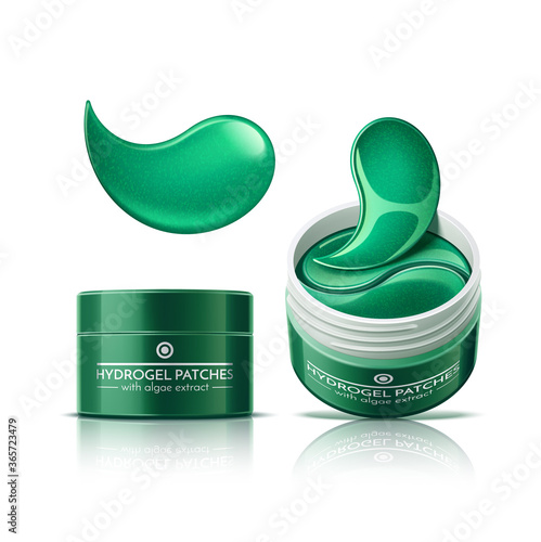 Vector realistic eye patches in cosmetics jar Fototapeta
