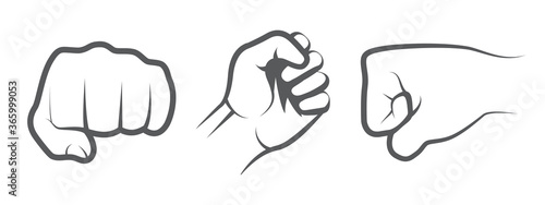 Photo Hand punch icons on white background