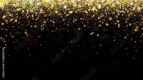 Fotografering Festive vector background with gold glitter and confetti for christmas celebration