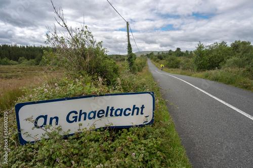 Obraz na plátně An Ghaeltacht road sign in Connemara. Co.Mayo, Ireland. July 2020
