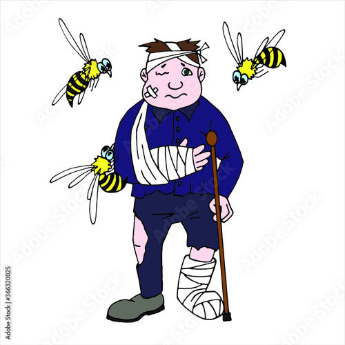 Photographie crippled man by bees