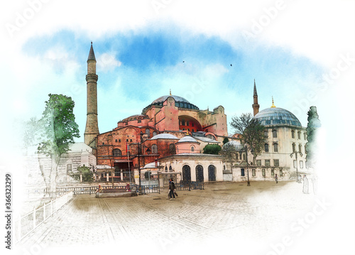 Canvas-taulu Hagia Sophia, Istanbul, Islamic historical mosque and Museum