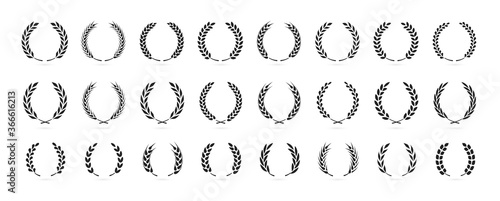 Fotografiet Simple black laurel wreath vector icon set