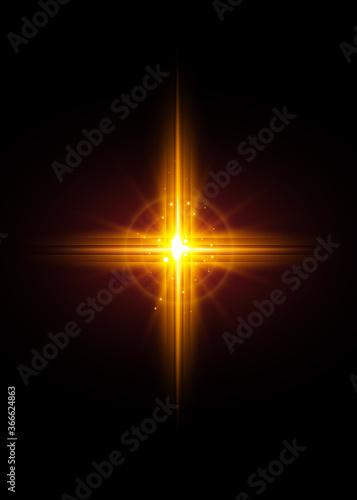 Obraz na plátně cross of light, shiny Cross with golden frame symbol of christianity