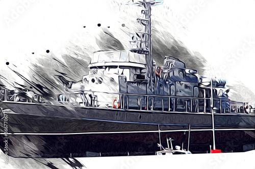 Canvas Print Military ship goes through the rough atlantic sea illustration vintage retro art