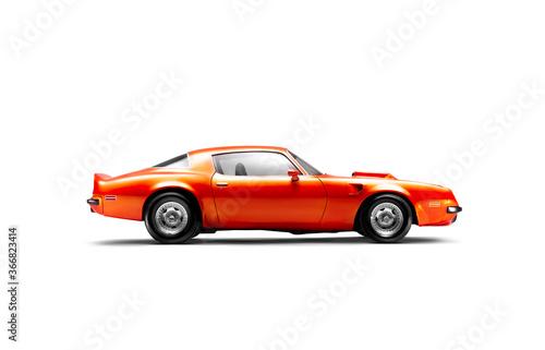 Fotografie, Obraz Side view of a 1974 Pontiac Brand Trans am firebird in a studio shot