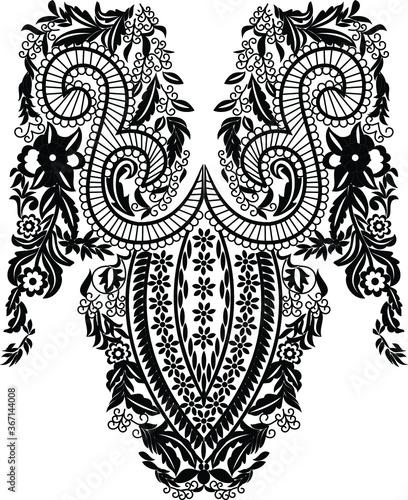 Fototapeta beautiful folk art, floral decoration beautiful flower illustration