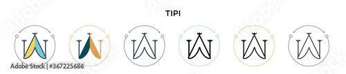 Fotografia Tipi icon in filled, thin line, outline and stroke style