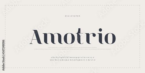 Obraz na płótnie Elegant alphabet letters font and number