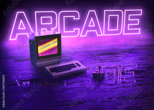 Foto Vintage computer with neon glowing arcade videogames in violet synthwave colorfu
