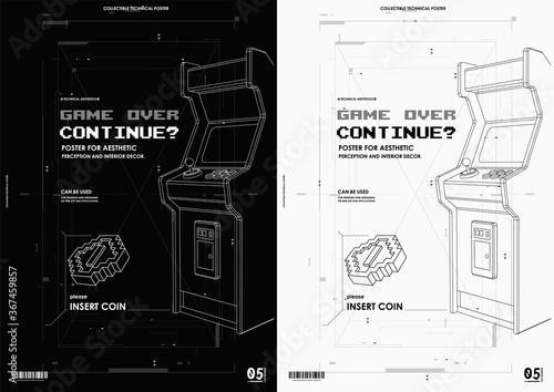 Neon illustration of Arcade game machine Fototapete
