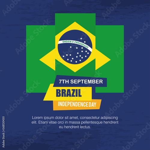 Fototapeta 7 september, banner of brazil independence celebration, flag emblem decoration v