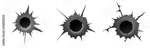 Fototapeta Bullet hole on white background