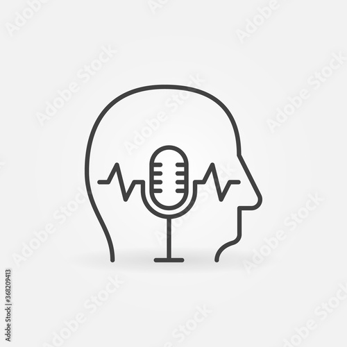 Microphone inside Human Head linear vector concept icon or logo element Fototapete
