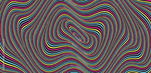 Fototapeta premium Streszczenie tło w paski okrągłe. Wzór z złudzeniem optycznym. 3D geometryczne ilustracji wektorowych.