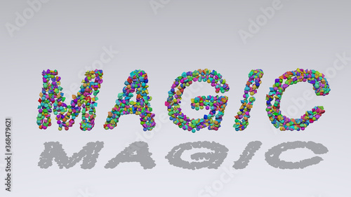 Tela magic: 3D illustration of the text made of small objects over a white background with shadows