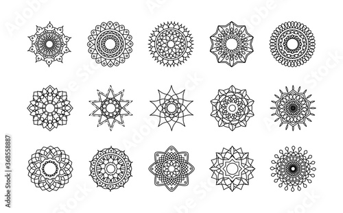 Photo mandala decoration ornament flower motif ethnic oriental line style icon set