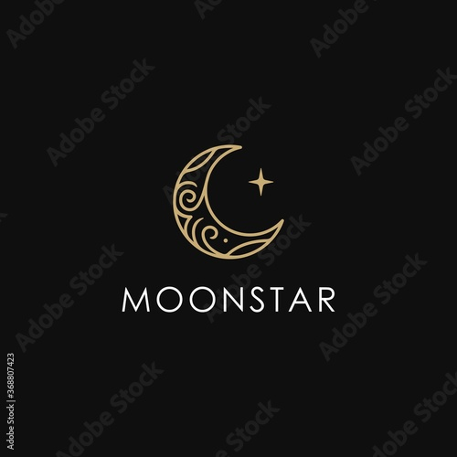 Foto elegant crescent moon and star logo design line icon vector in luxury style outl
