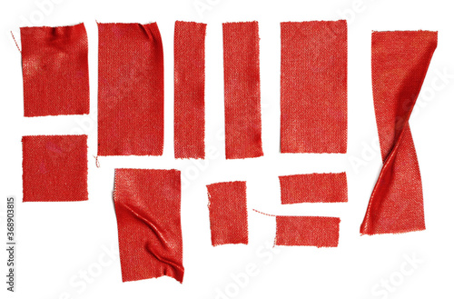 set of red fabric tape stripes on white background. red sticker design elements.