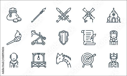Fotografia medieval times line icons