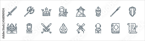 Photo medieval times line icons