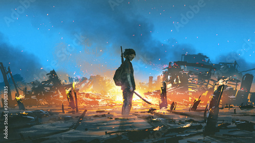Canvas Print young survivor in the apocalyptic world, digital art style, illustration paintin