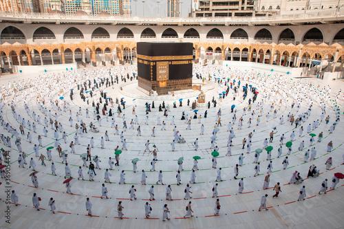 Muslim pilgrims in Al Haram Mosque Makkah performing Tawaf , Hajj Season at the time of the Corona Covid 19 , Covid 19 precautionary measures.Saudi Arabia makkah at Aug 2020