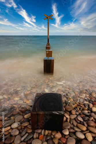 Obraz na plátně long exposure of Findhorn beach on the Moray coast, Scotland.