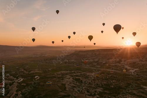 Canvas Print Hot air balloon rides in Cappadocia at sunrise