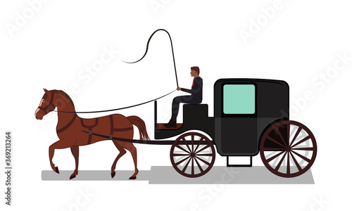 Photo Four wheeled carriage or Coach with horse drawing in vector
