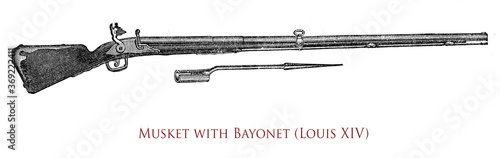 Photo France, musket with bayonet at Louis XIV times