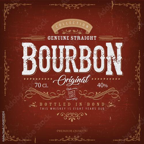 Fotografia Vintage Bourbon Label For Bottle/ Illustration of a vintage design elegant whisk