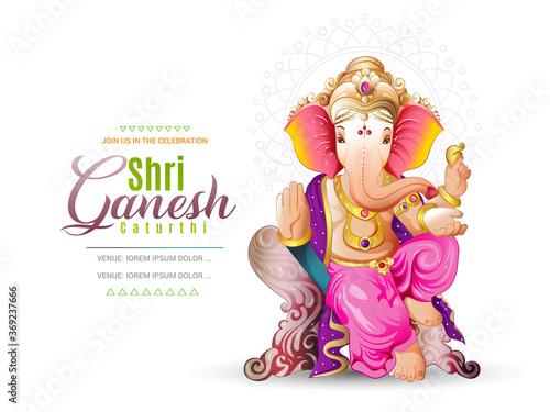 Wallpaper Mural illustration of Lord Ganpati on Ganesh Chaturthi background