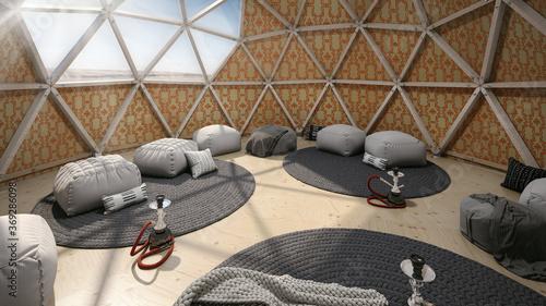 Foto Modern geodesic dome tent yurt interior with hookahs