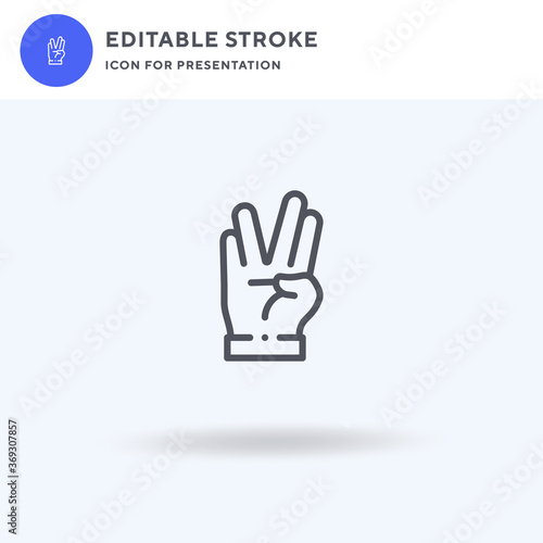 Obraz na płótnie Vulcan Salute icon vector, filled flat sign, solid pictogram isolated on white, logo illustration