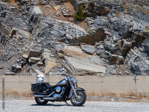 Kawasaki Vulcan Motorcycle chopper stands on a mountain serpentine in Greece Fotobehang